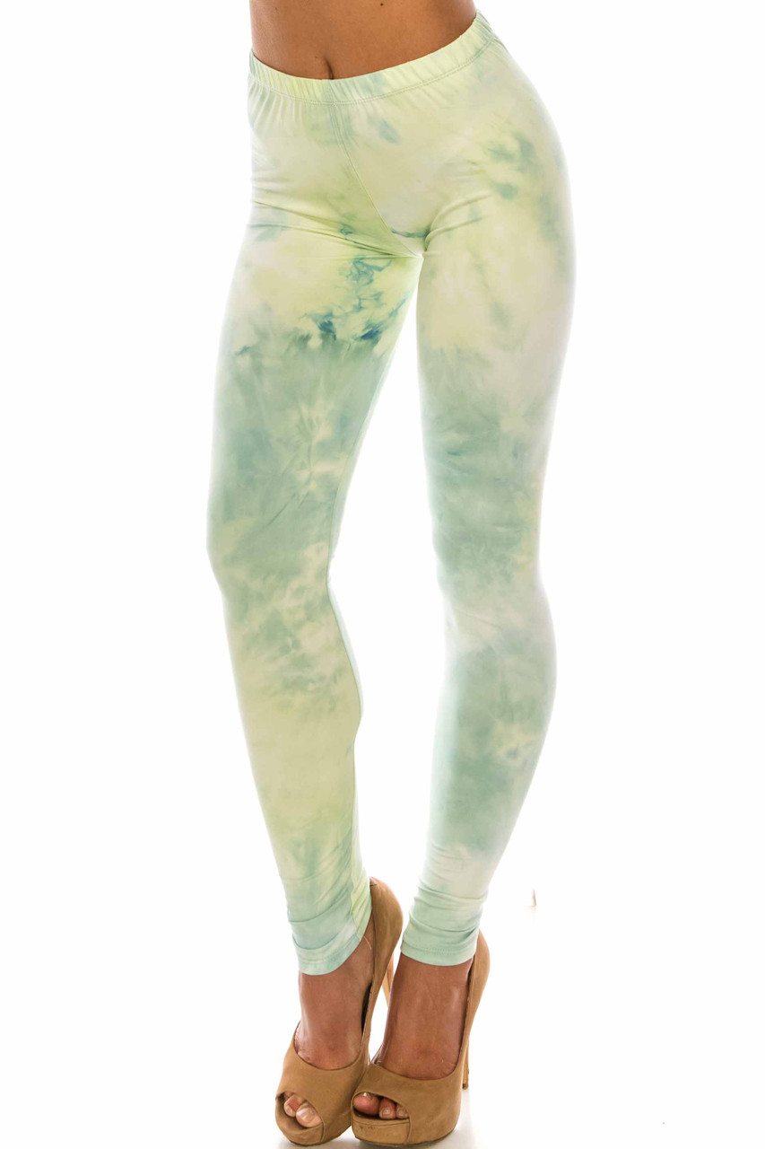 45 degree view of Buttery Soft Mint Tie Dye Extra Plus Size Leggings