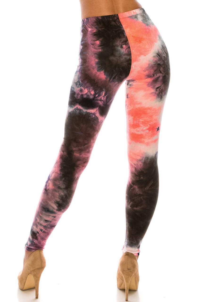 Back view of Buttery Soft Coral Tie Dye Plus Size Leggings with a flattering skinny leg fit.
