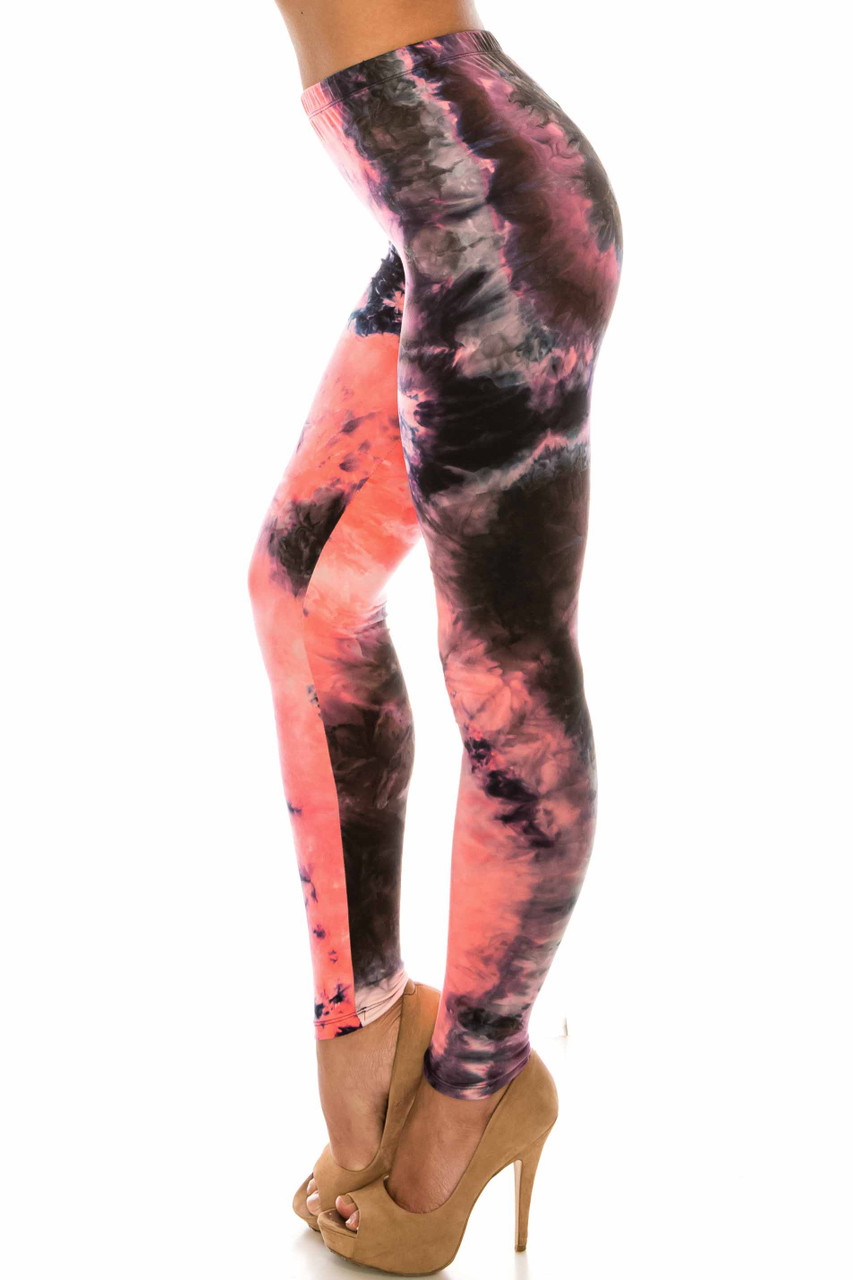 Left side of Buttery Soft Coral Tie Dye Plus Size Leggings