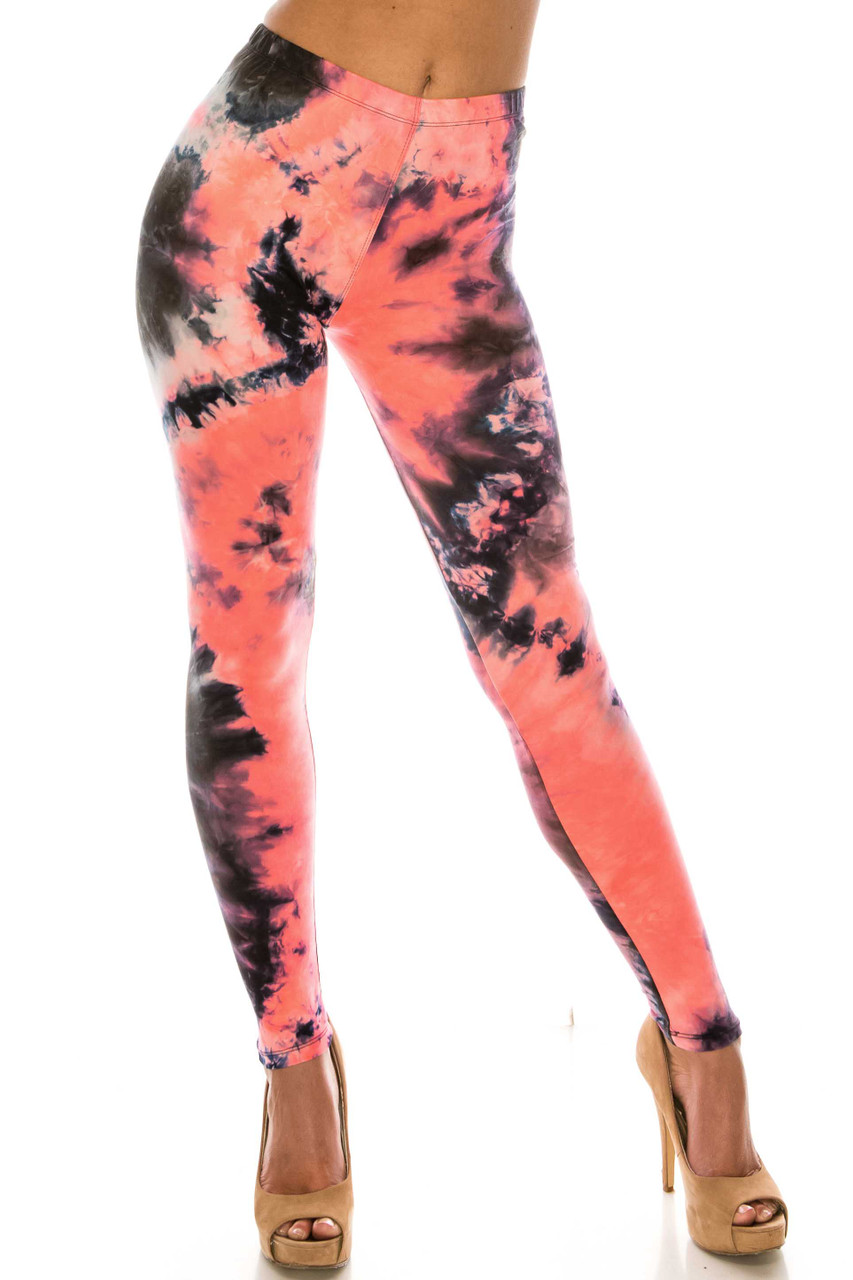 Front of Buttery Soft Coral Tie Dye Extra Plus Size Leggings - 3X-5X with a fabulous colorful all over color dyed design.