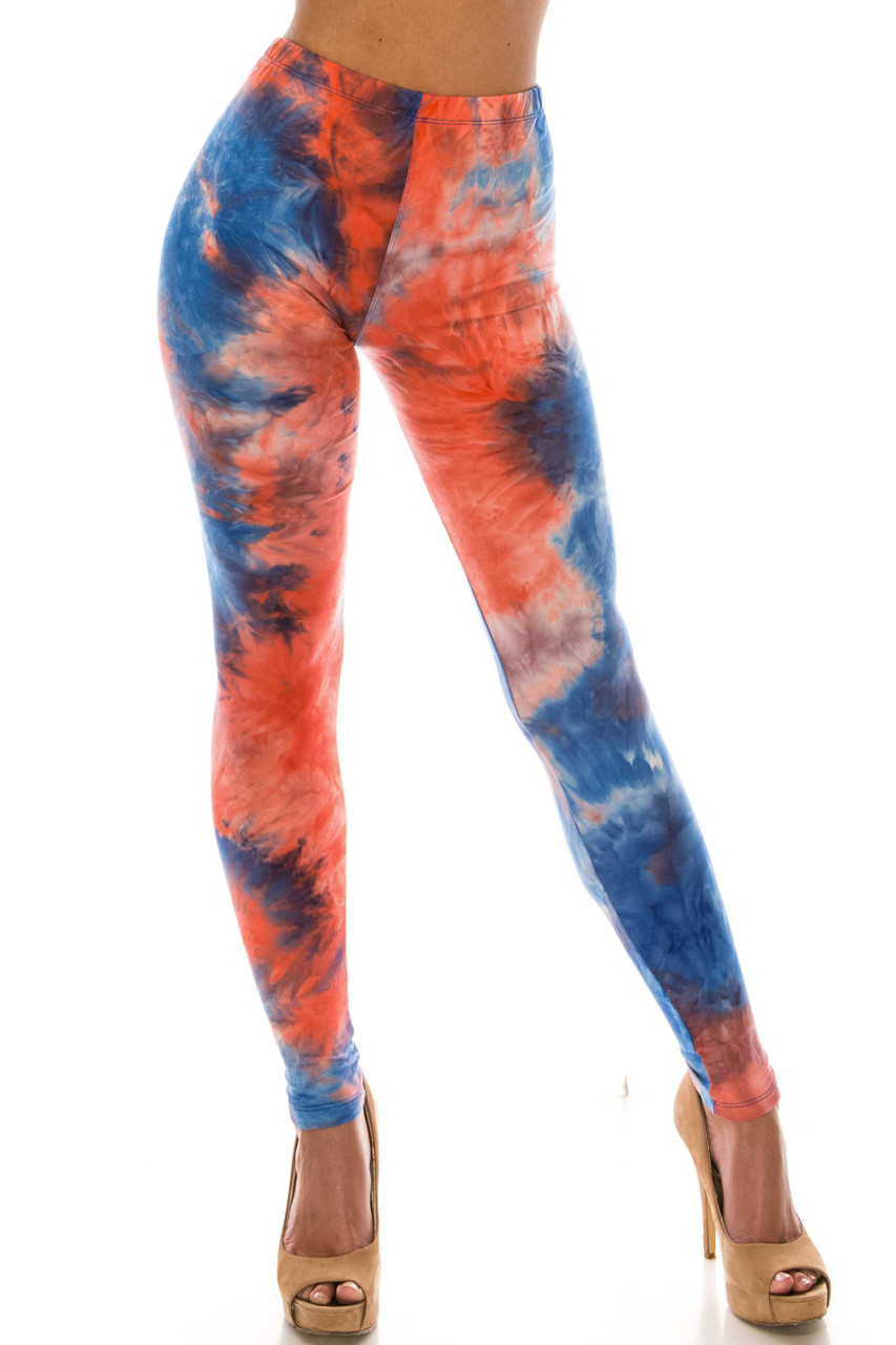 Front of Buttery Soft Red and Blue Tie Dye Leggings with a fabulous colorful all over color dyed design.