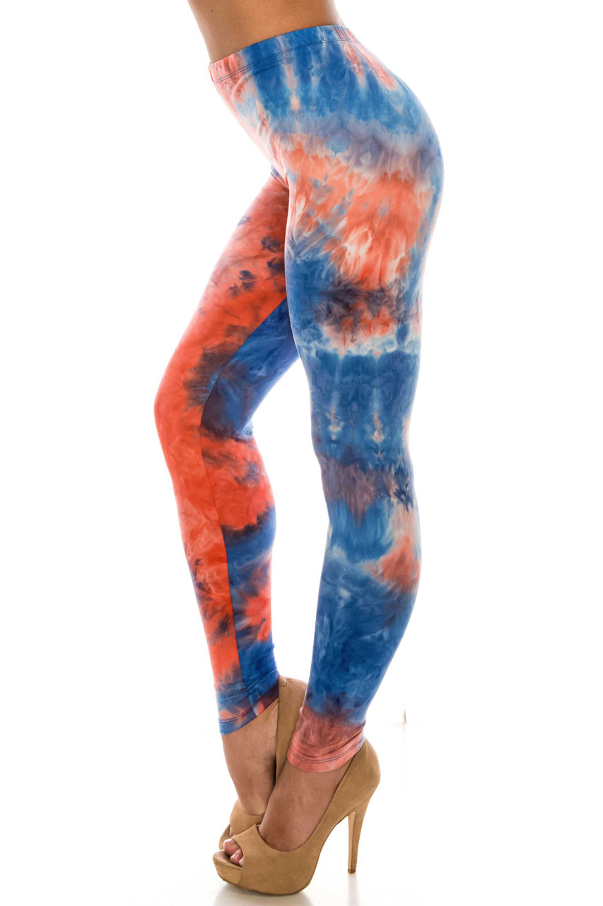 Left side of Buttery Soft Red and Blue Tie Dye Leggings