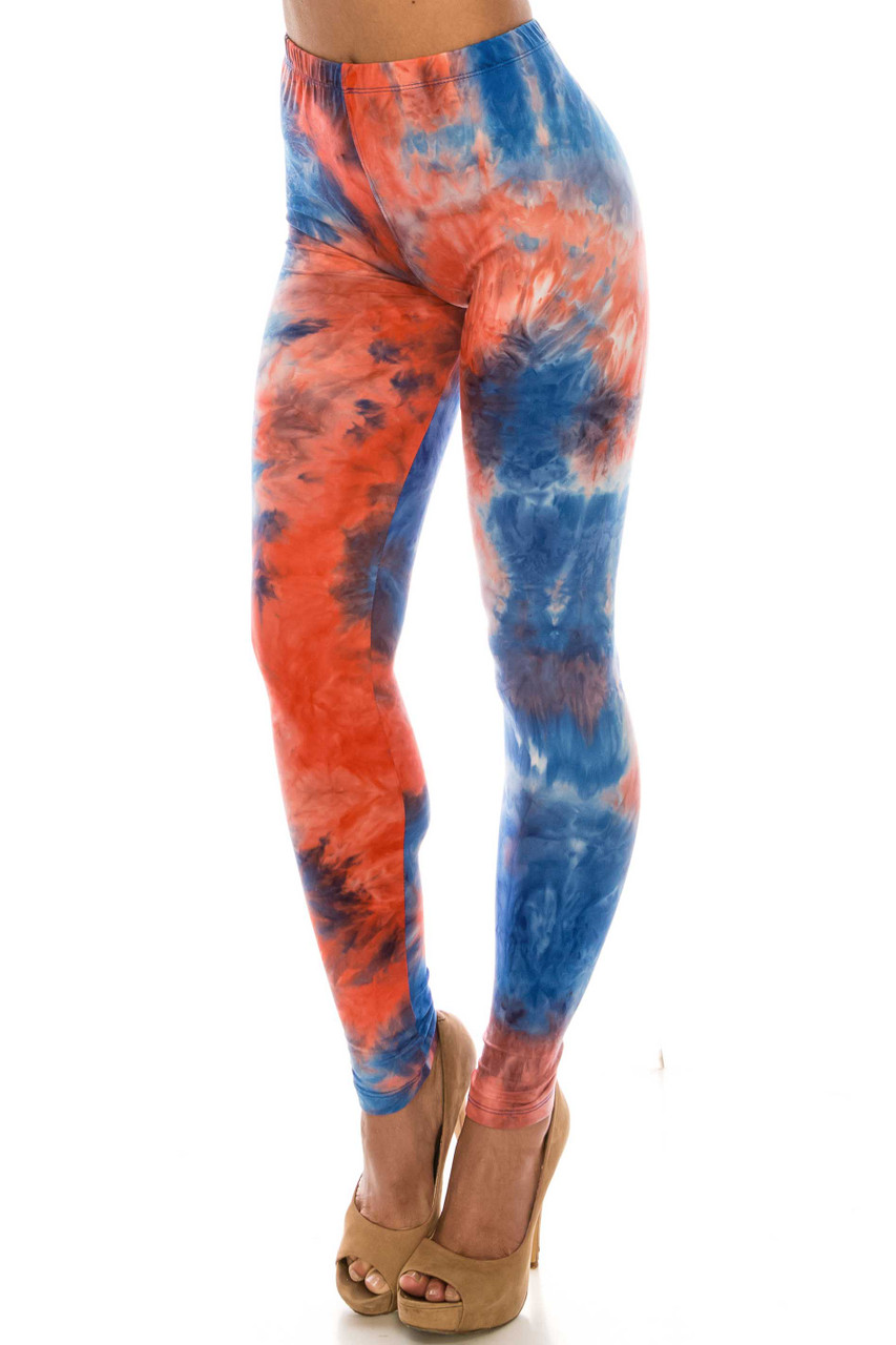 45 degree view of Buttery Soft Red and Blue Tie Dye Leggings