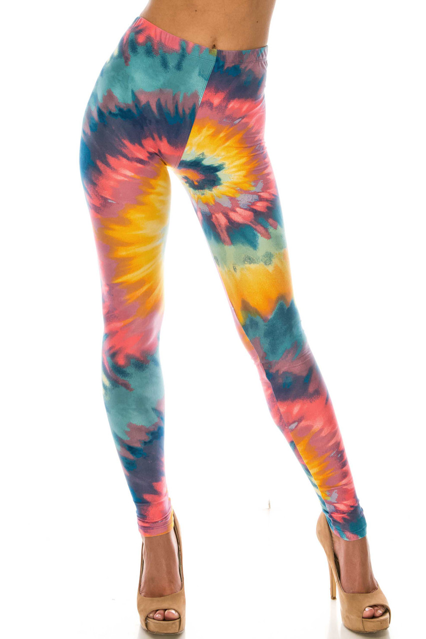 Front view of Buttery Soft Multi-Color-Bold Tie Dye Leggings with a vibrant swirling design.