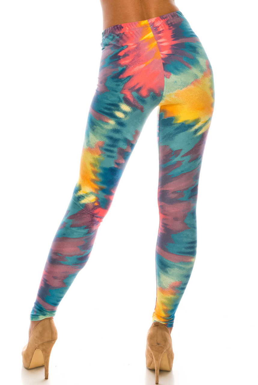 Rear view of Buttery Soft Multi-Color-Bold Tie Dye Leggings with a form flattering fit.
