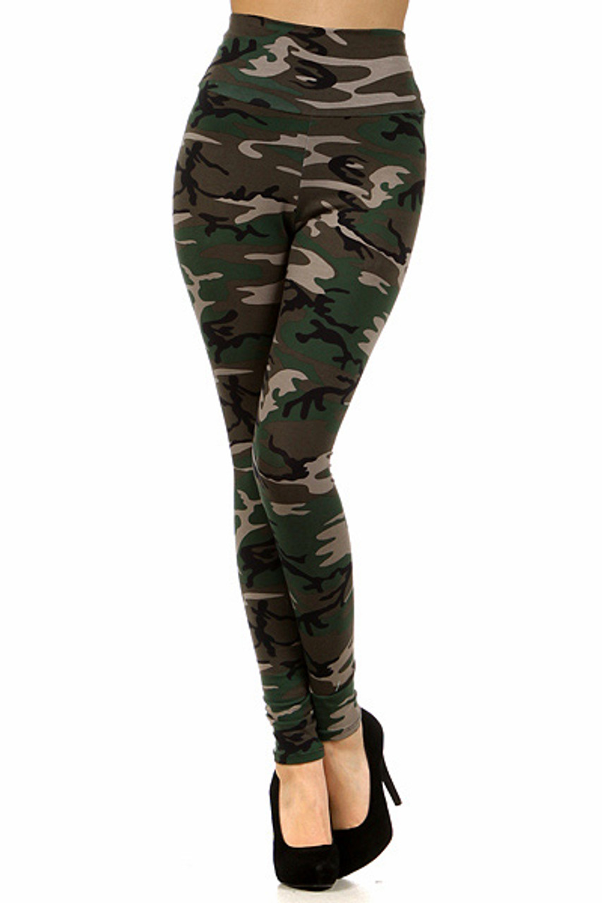 Front of High Waisted Cotton Camouflage Leggings