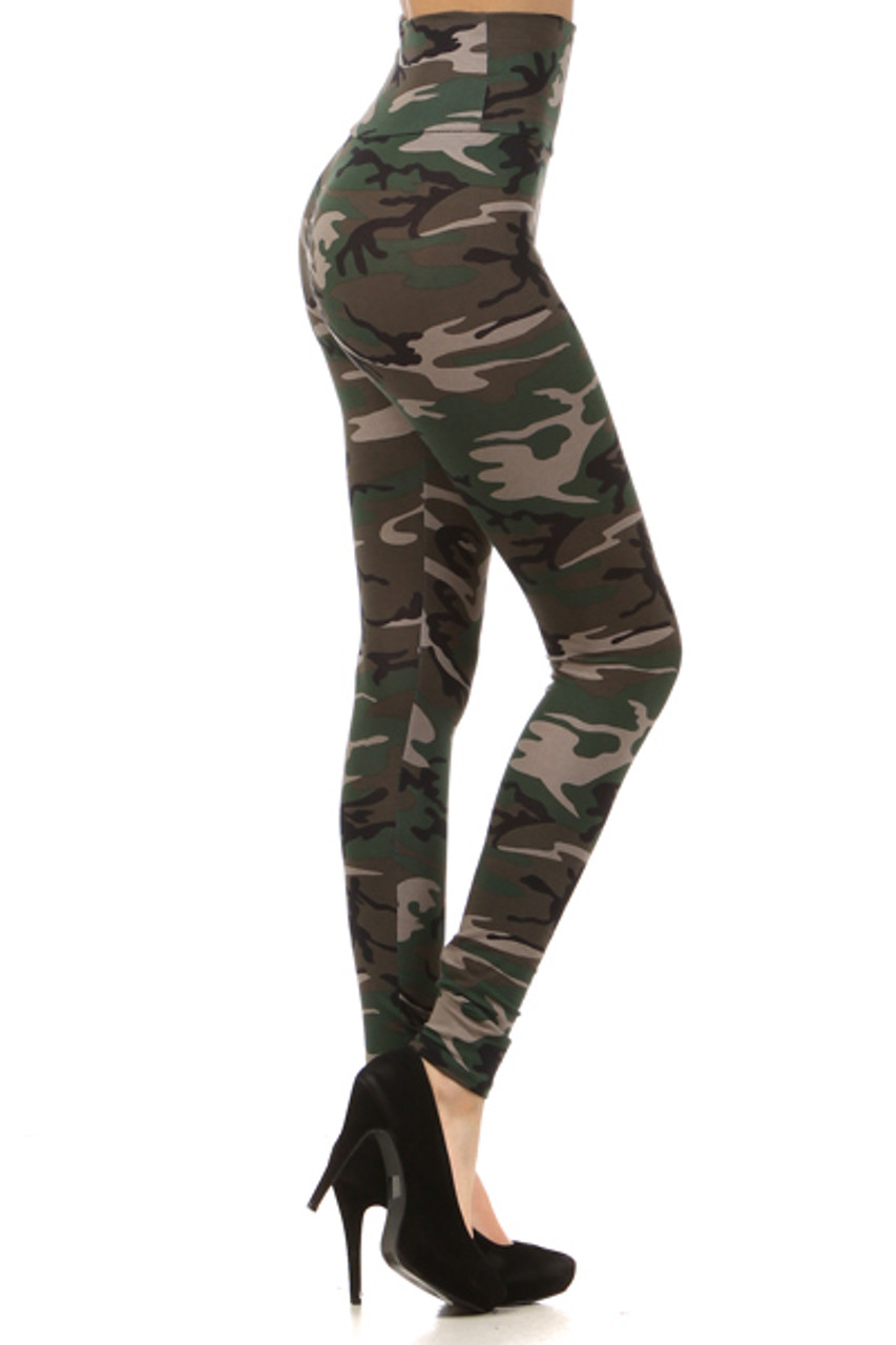 Right side of High Waisted Cotton Camouflage Leggings