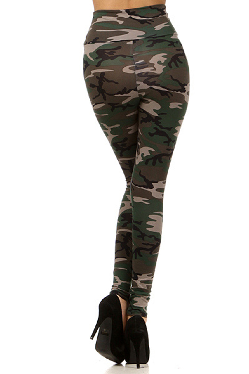 Back side of High Waisted Cotton Camouflage Leggings