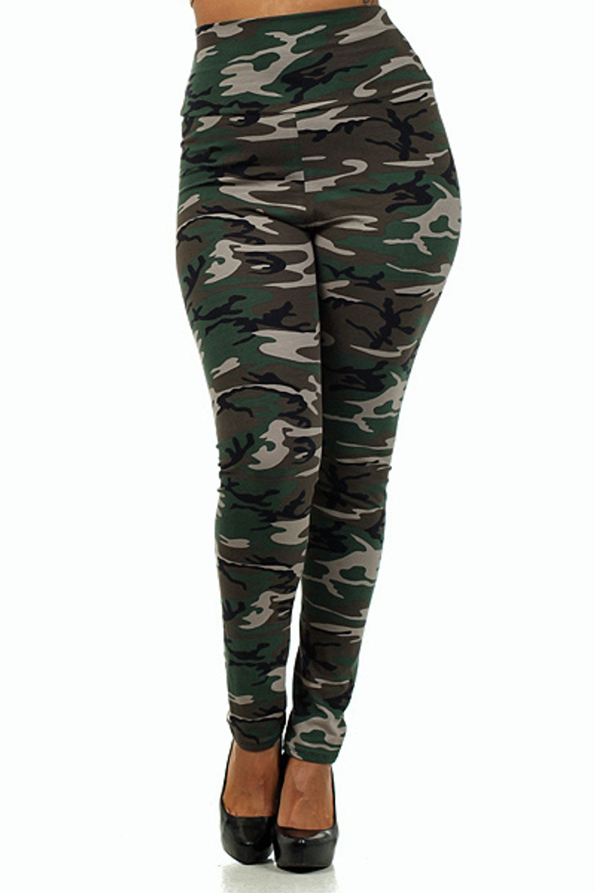 Front of High Waisted Cotton Camouflage Plus Size Leggings - Made in USA
