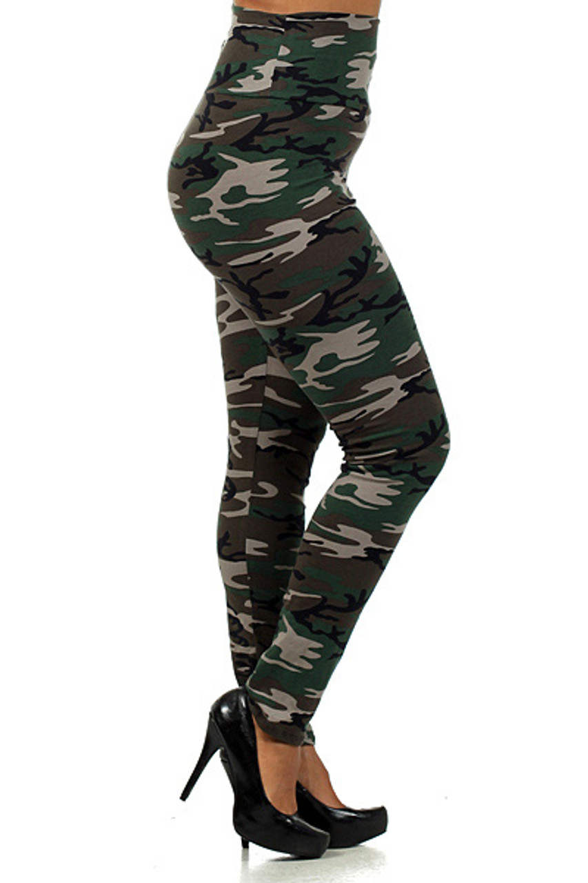 Right side of High Waisted Cotton Camouflage Plus Size Leggings - Made in USA