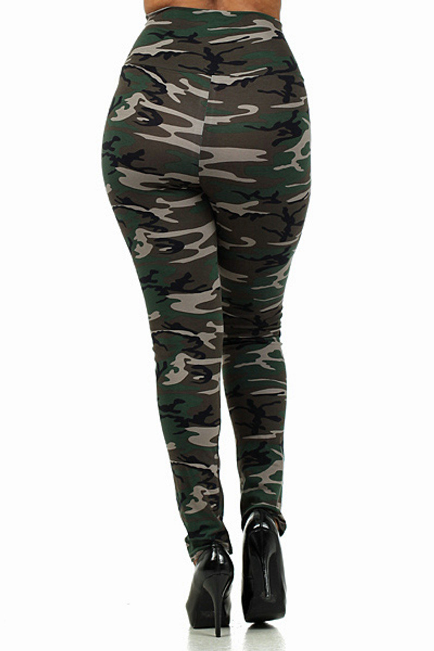 Back side of High Waisted Cotton Camouflage Plus Size Leggings - Made in USA