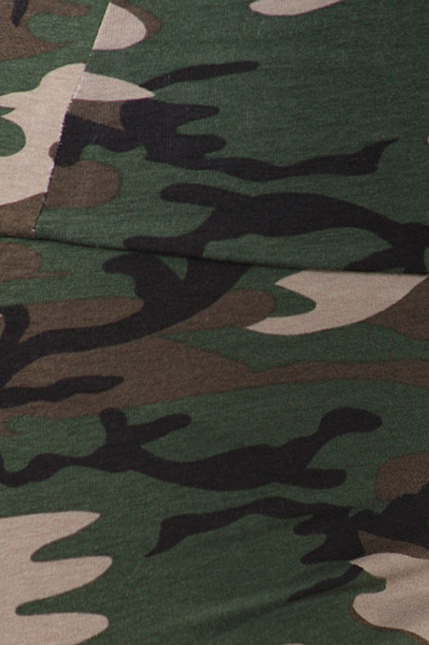 Close-up swatch of High Waisted Cotton Camouflage Plus Size Leggings - Made in USA