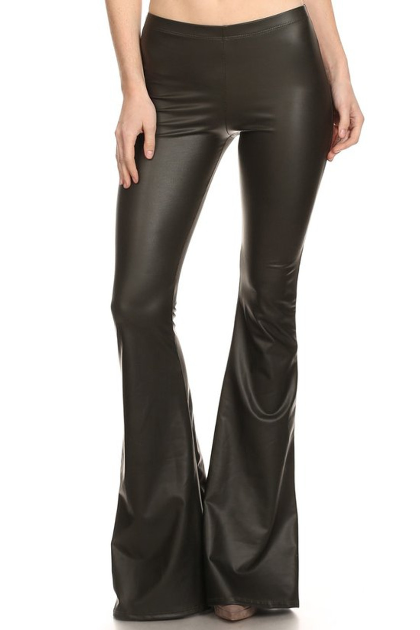 Front Faux Leather Bell Bottom Leggings - Made in USA