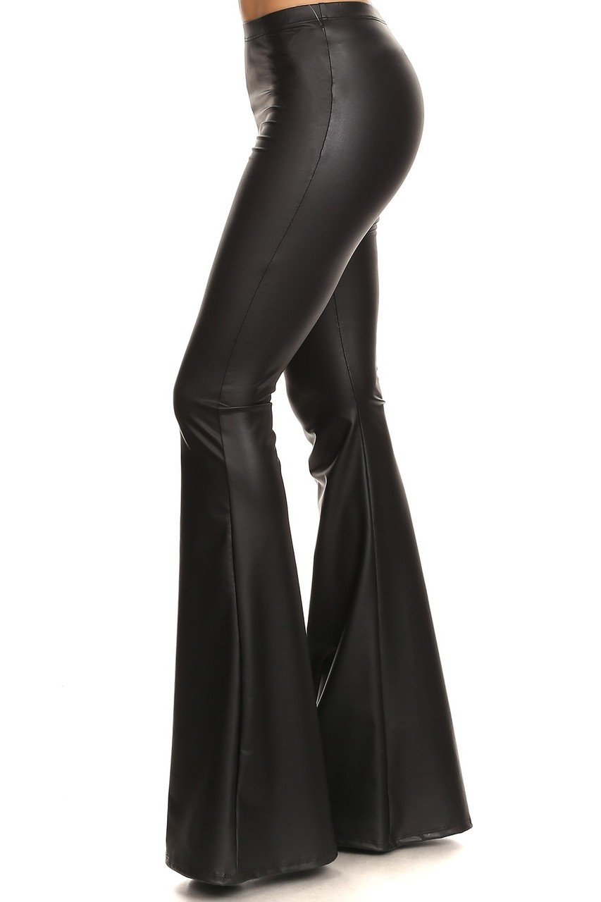 Left side of Faux Leather Bell Bottom Leggings - Made in USA