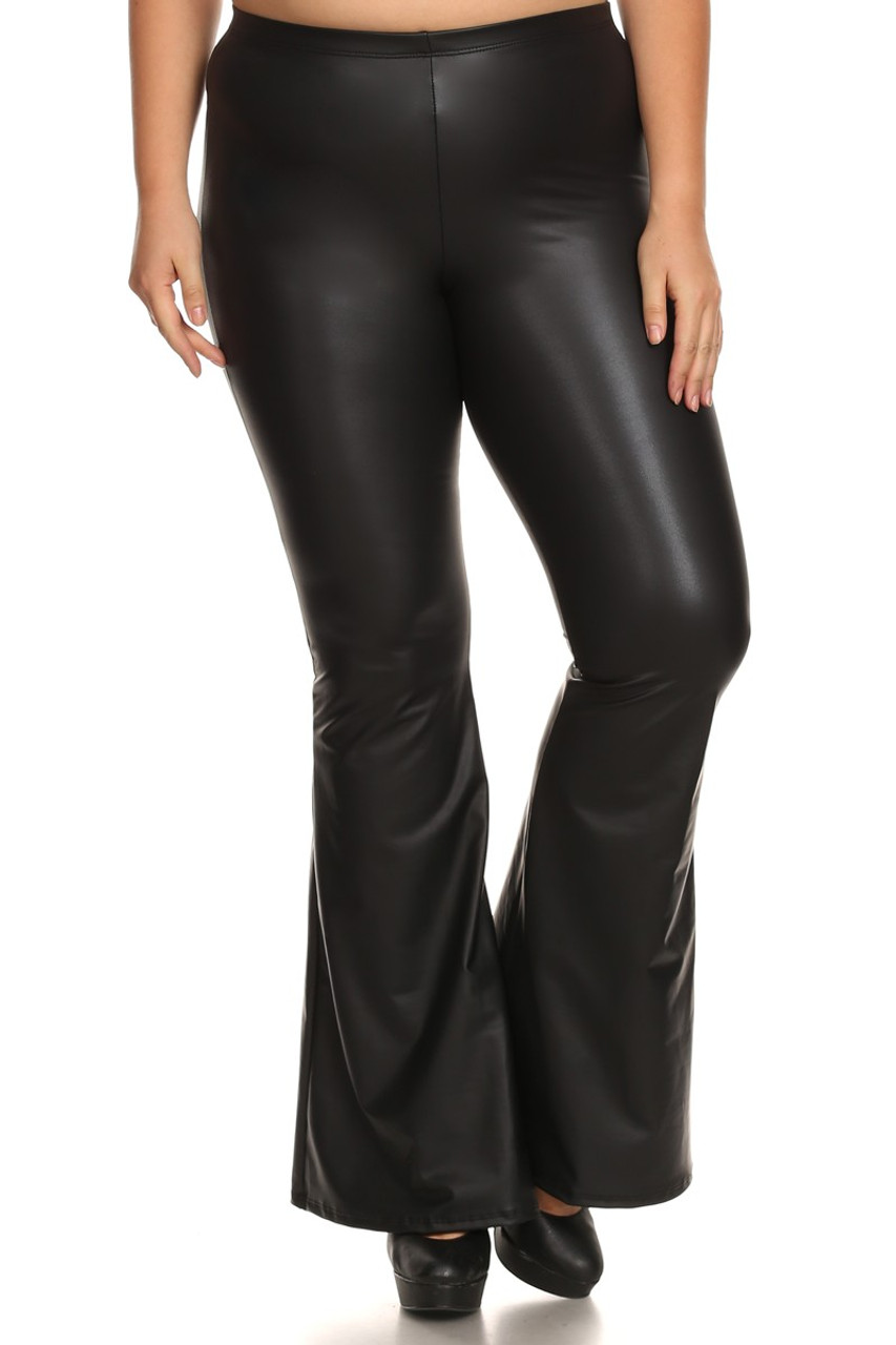 Front of Faux Leather Bell Bottom Plus Size Leggings - Made in USA