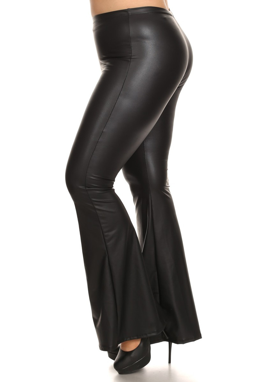 Left side of Faux Leather Bell Bottom Plus Size Leggings - Made in USA