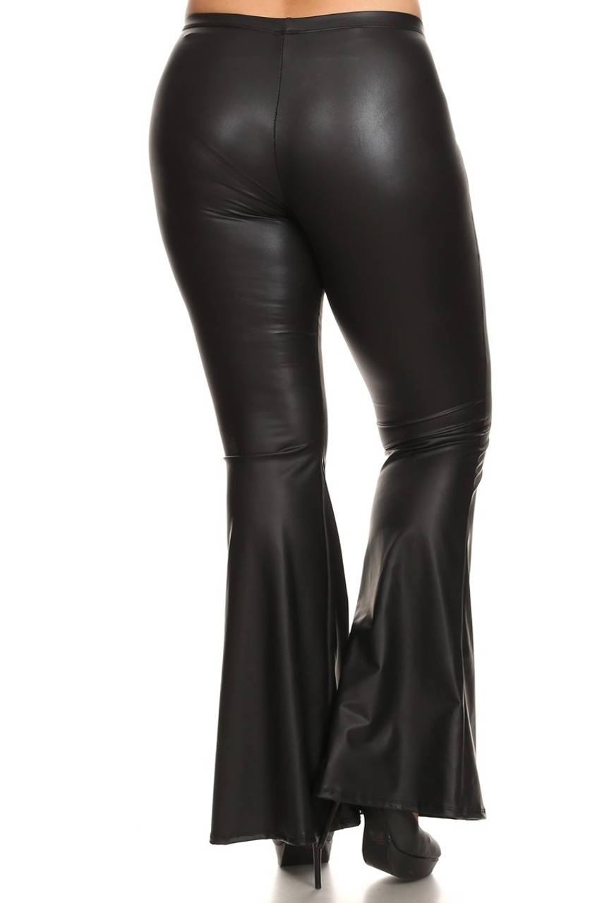Back view of Faux Leather Bell Bottom Plus Size Leggings - Made in USA