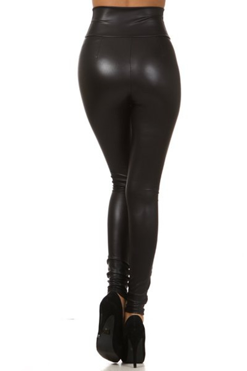 Back side of High Waisted Matte Faux Leather Leggings with Zipper - Made in USA