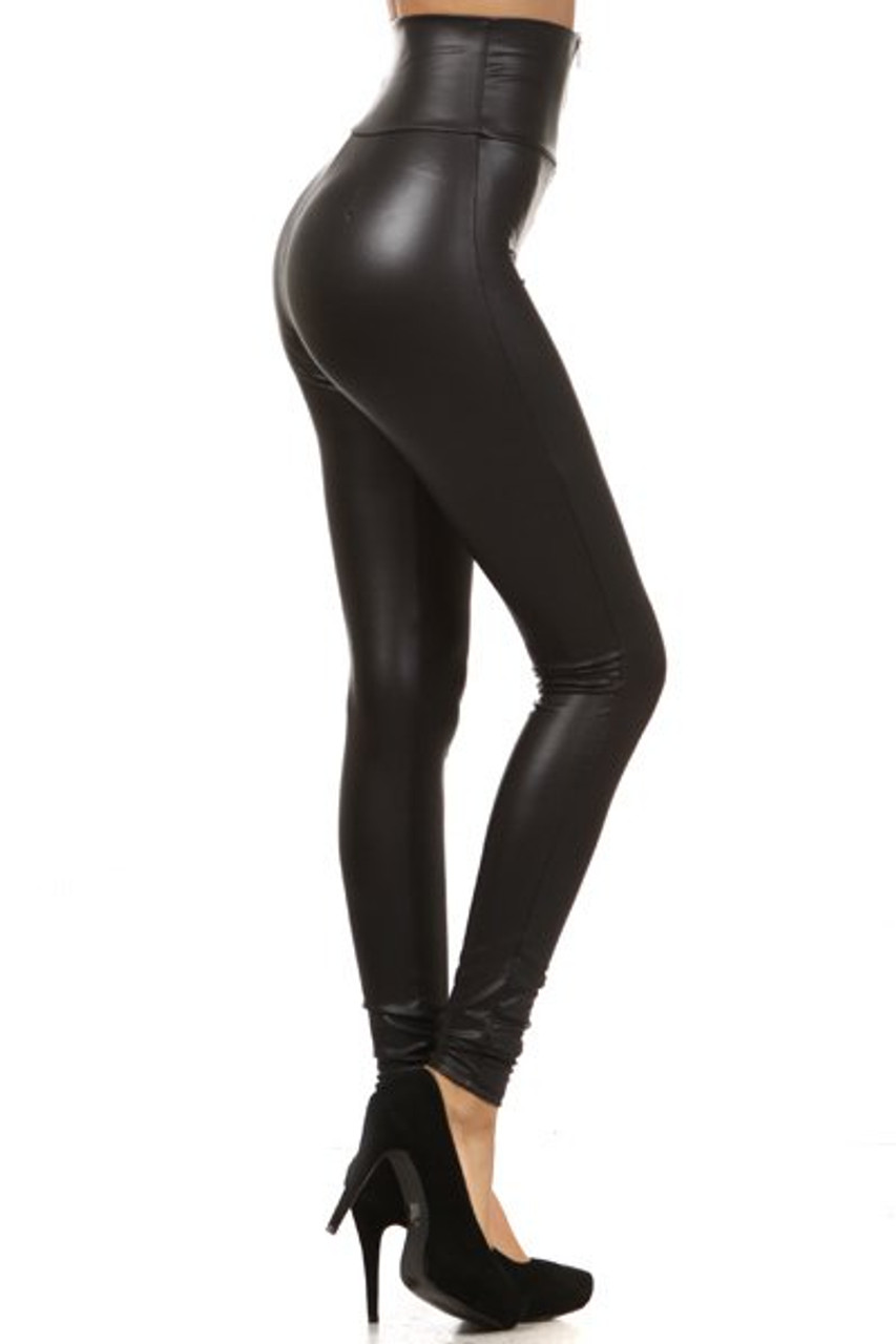 Right side of High Waisted Matte Faux Leather Leggings with Zipper - Made in USA