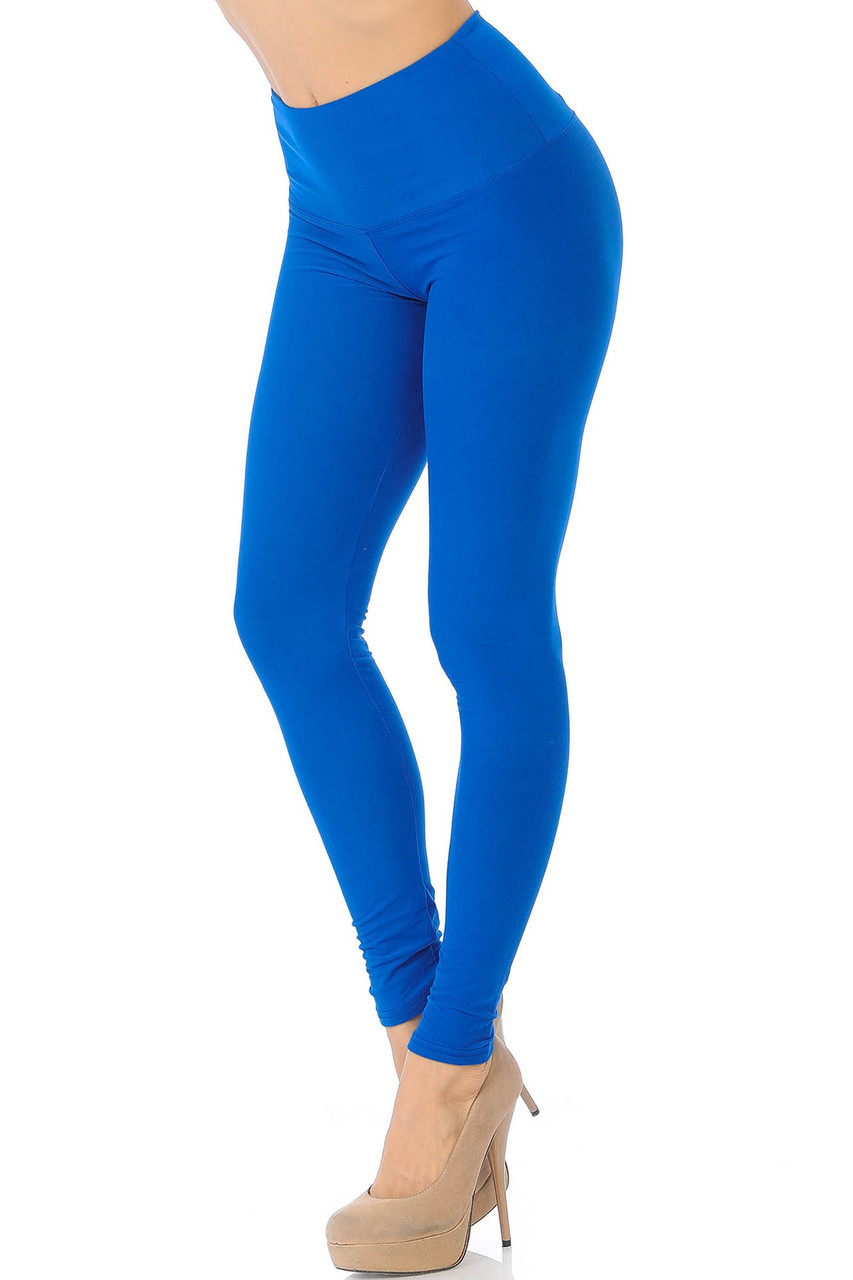 45 degree view of blue Buttery Soft High Waisted Basic Solid Leggings - 5 Inch Band