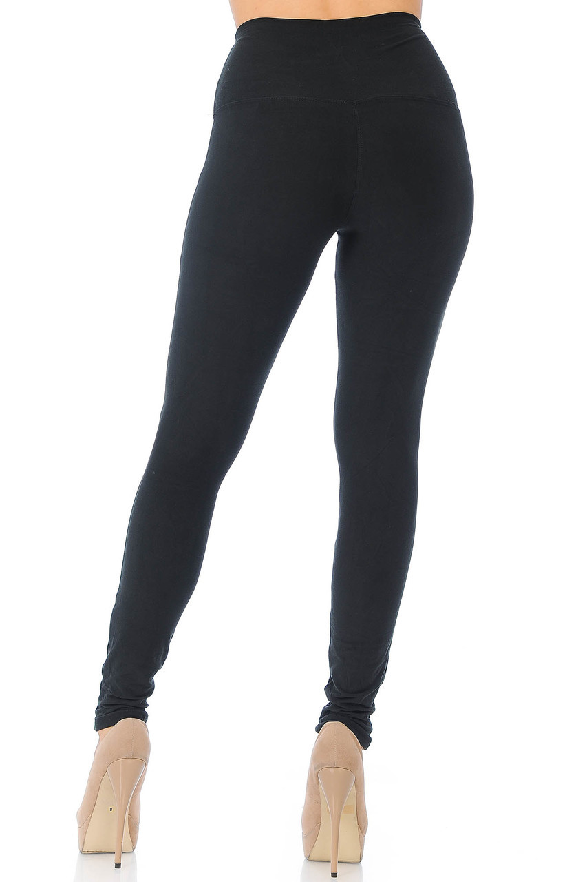 Back view of Black Buttery Soft High Waisted Basic Solid Leggings - 5 Inch Band