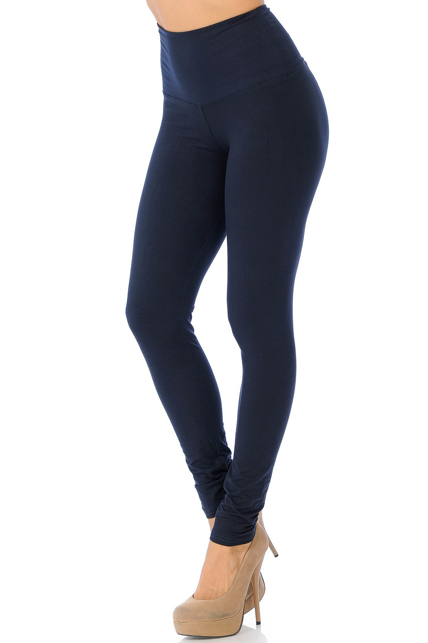 Left side view of Navy Buttery Soft High Waisted Basic Solid Leggings - 5 Inch Band
