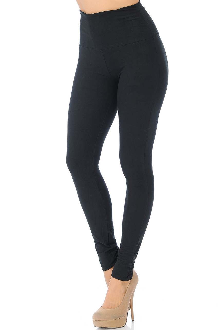 45 degree view of Black Buttery Soft High Waisted Basic Solid Leggings - 5 Inch Band