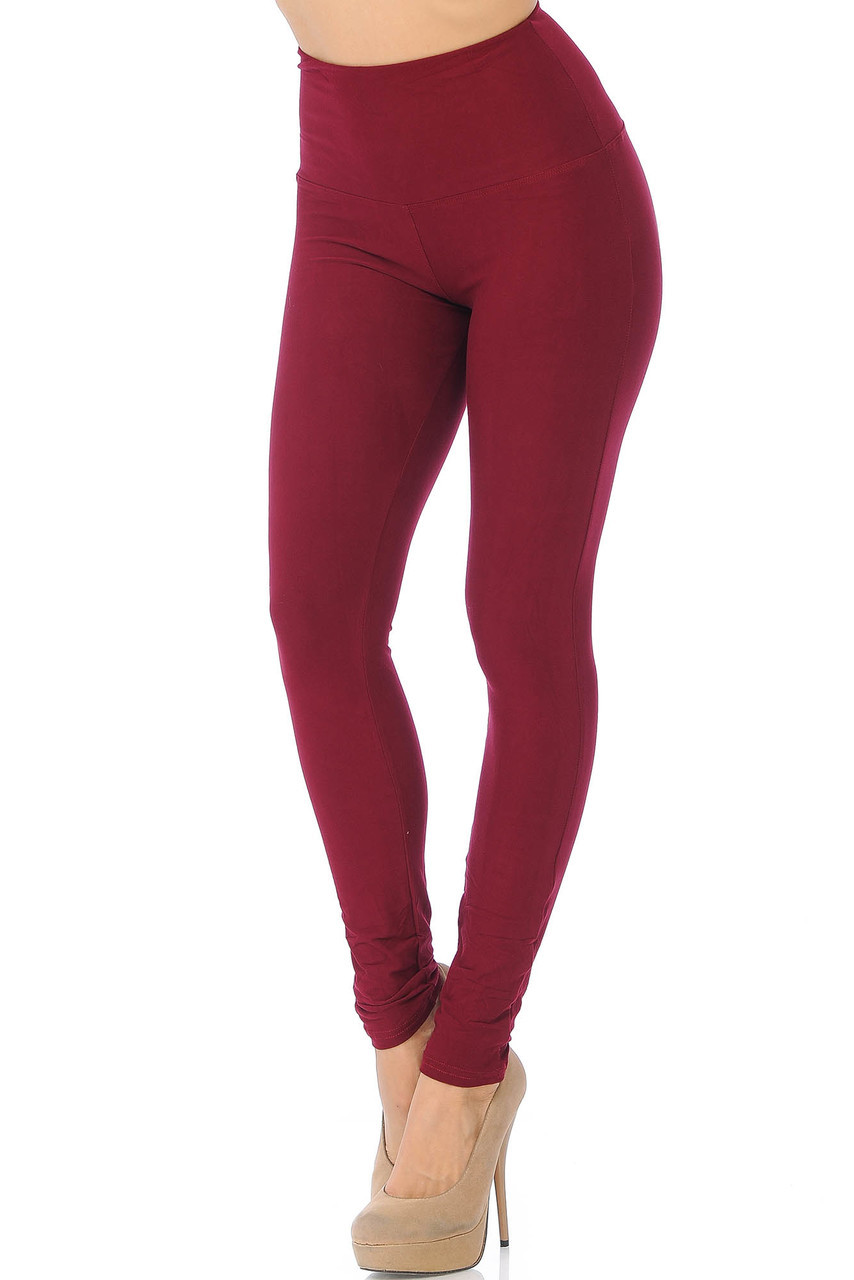 45 degree view of Burgundy Buttery Soft High Waisted Basic Solid Leggings - 5 Inch Band