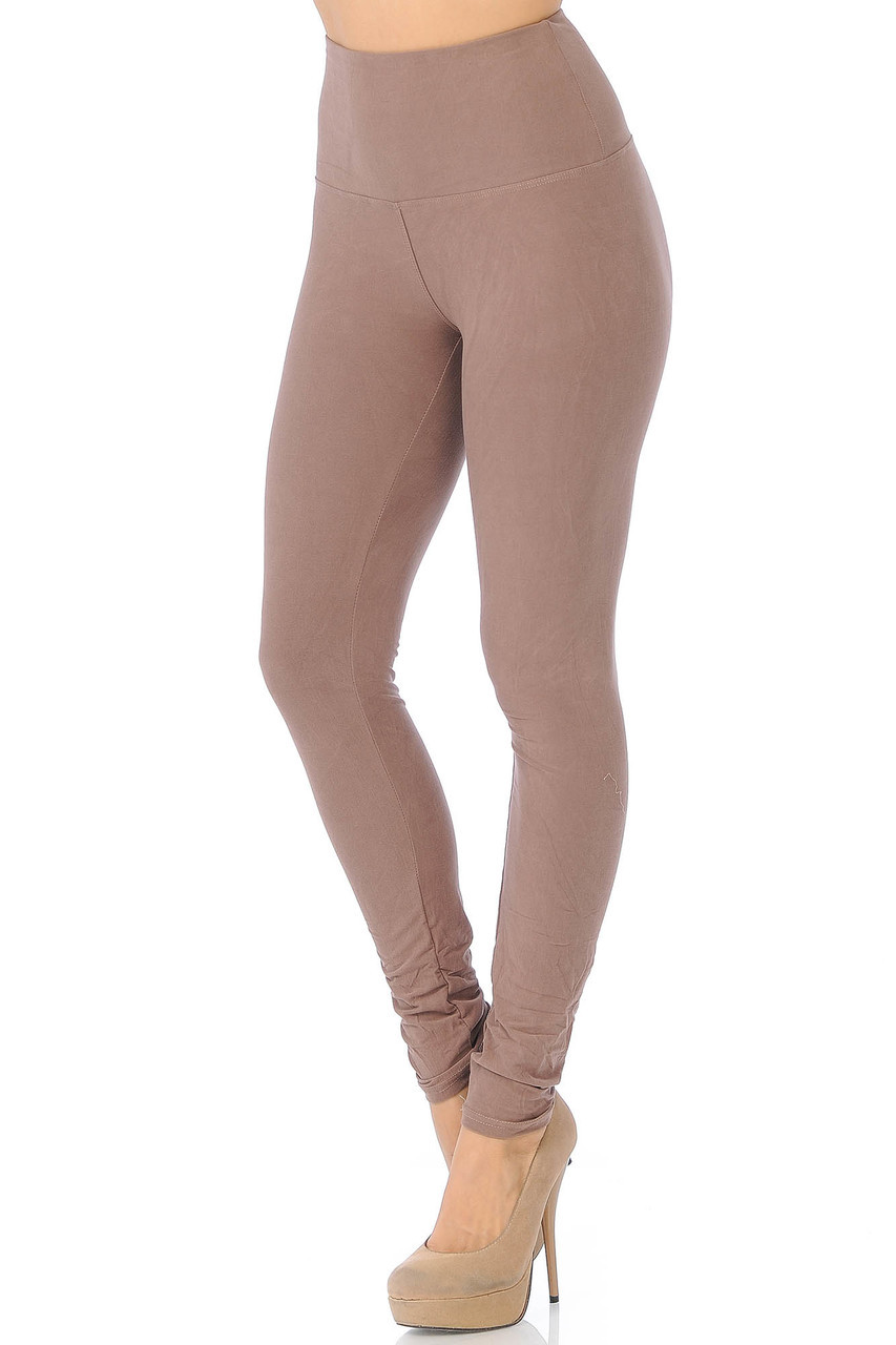 45 degree view of Mocha Buttery Soft High Waisted Basic Solid Leggings - 5 Inch Band