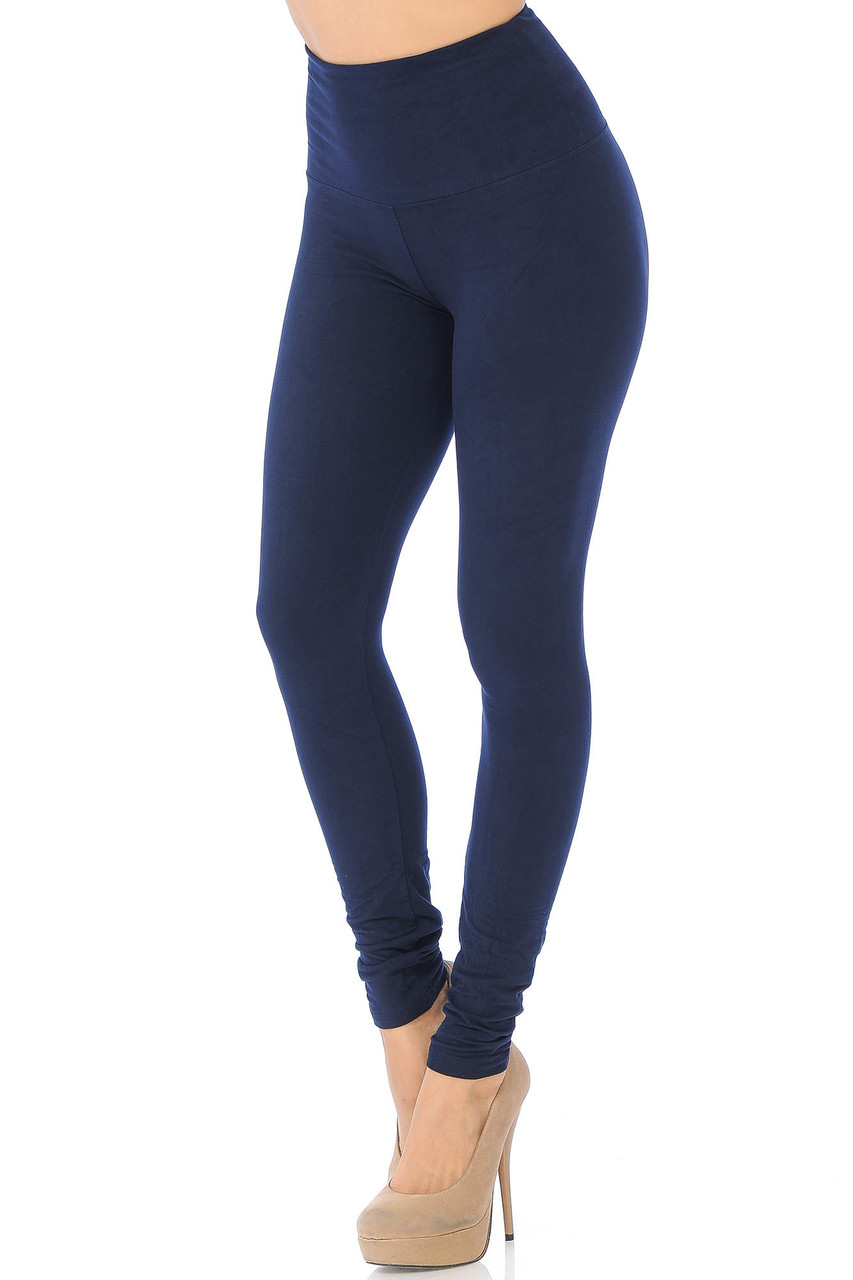 45 degree view of Navy Buttery Soft High Waisted Basic Solid Leggings - 5 Inch Band