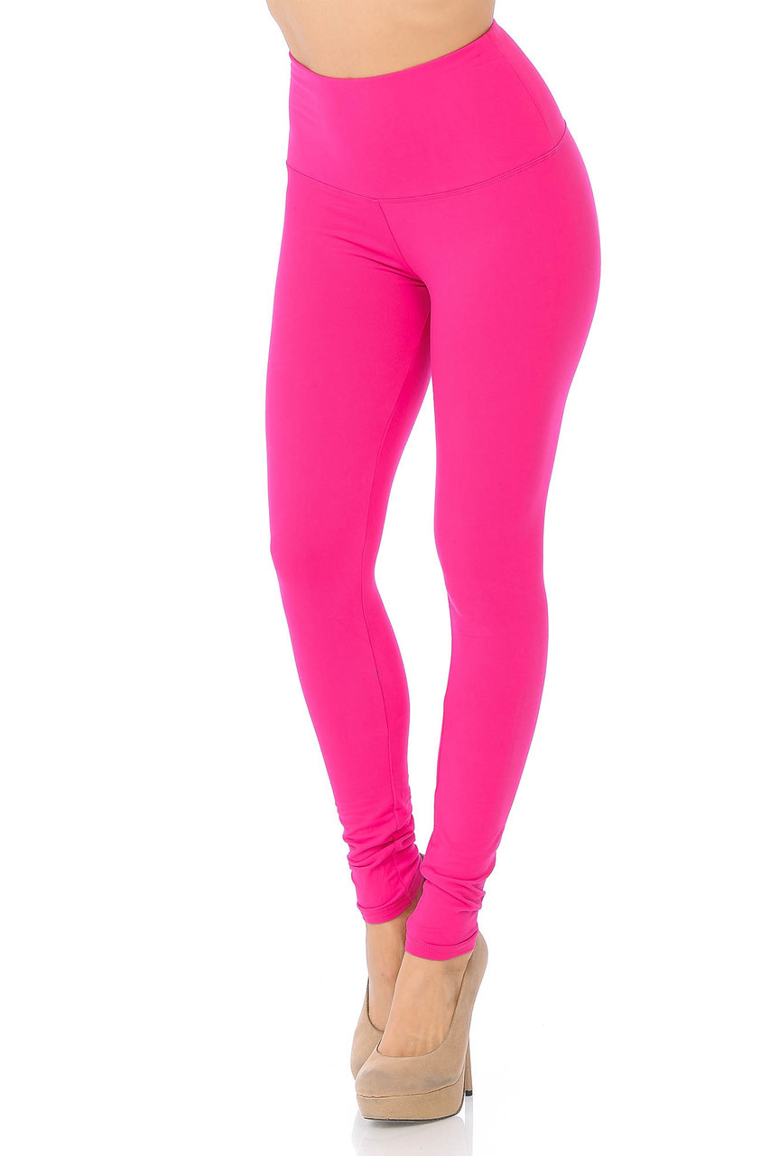 45 degree view of Fuchsia Buttery Soft High Waisted Basic Solid Leggings - 5 Inch Band