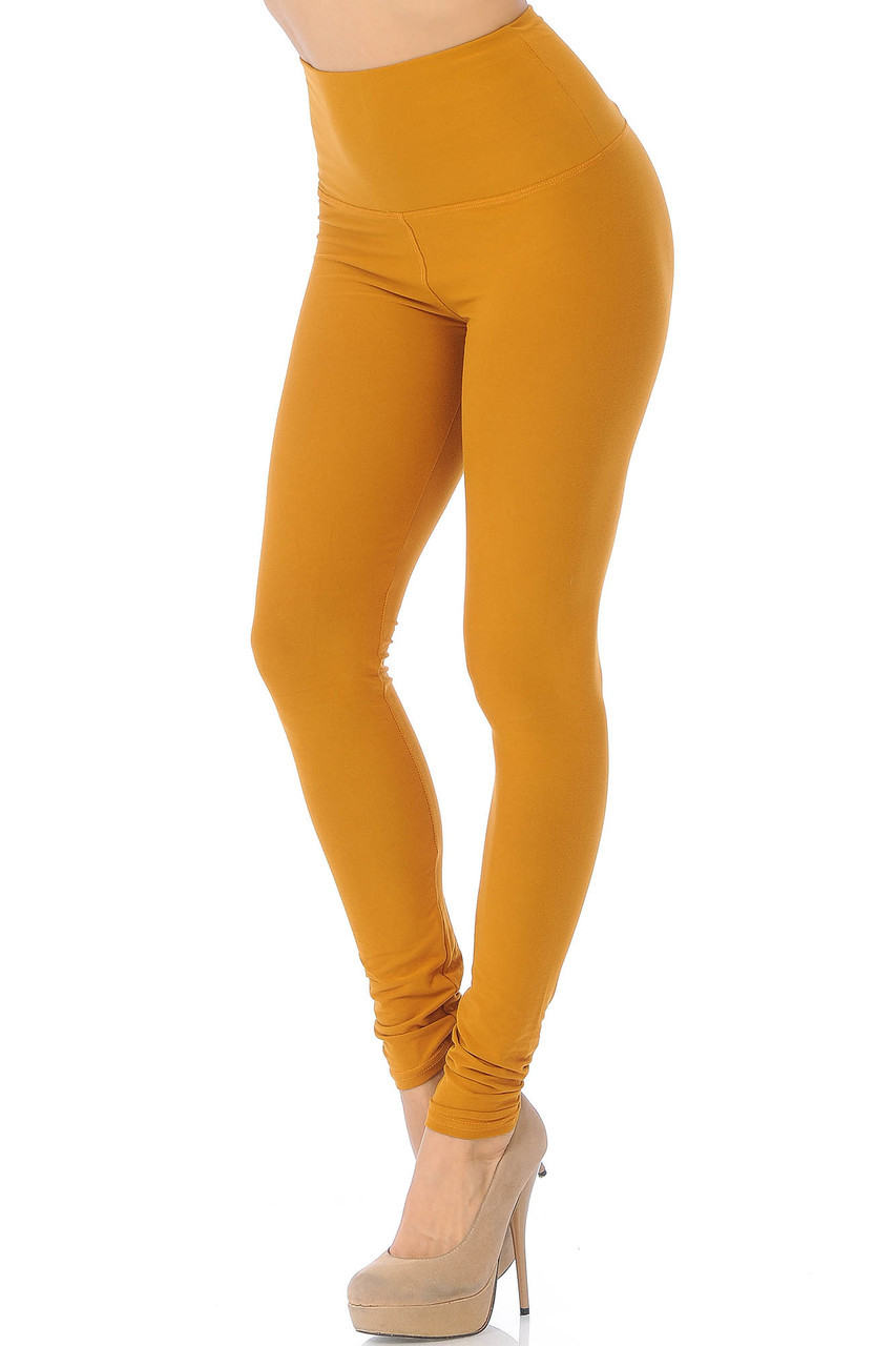 45 degree view of Mustard Buttery Soft High Waisted Basic Solid Leggings - 5 Inch Band