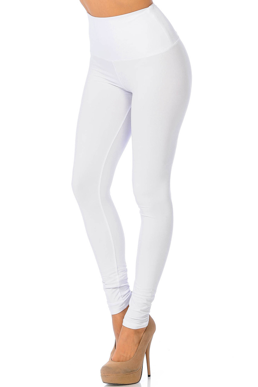 45 degree view of Ivory Buttery Soft High Waisted Basic Solid Leggings - 5 Inch Band