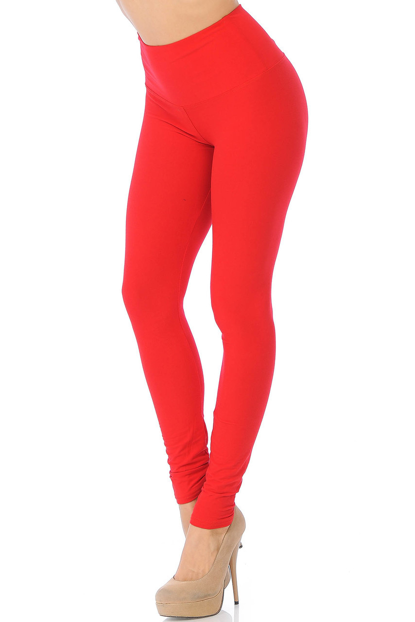 45 degree view of Red Buttery Soft High Waisted Basic Solid Leggings - 5 Inch Band