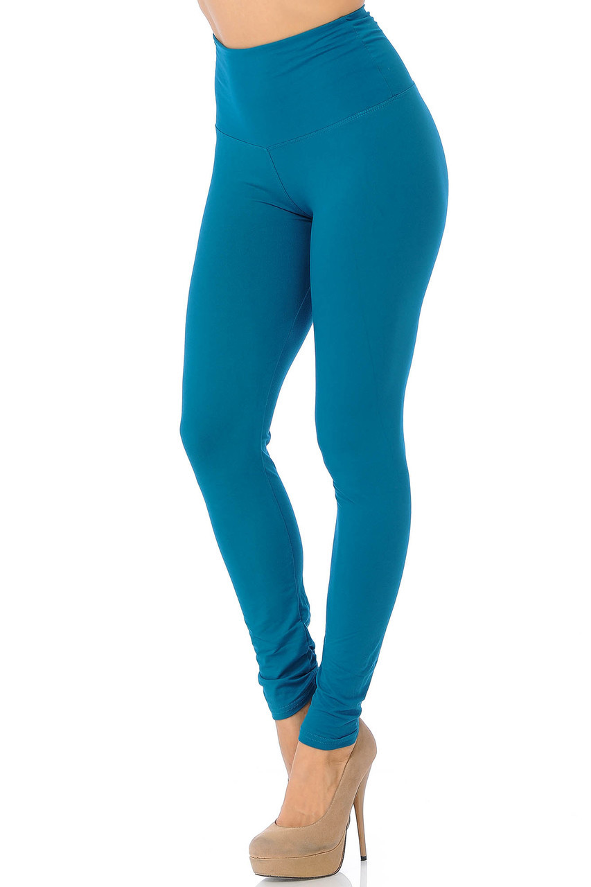 45 degree view of Teal Buttery Soft High Waisted Basic Solid Leggings - 5 Inch Band
