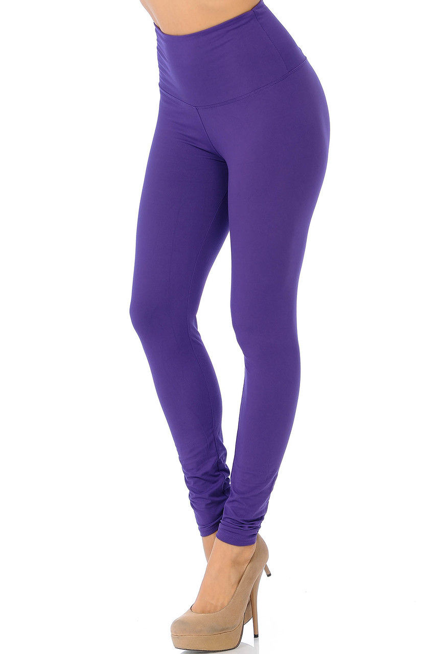45 degree view of Purple Soft High Waisted Basic Solid Leggings - 5 Inch Band