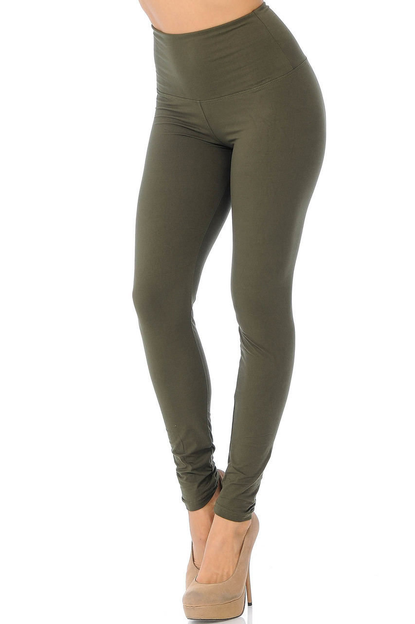 45 degree view of Olive Buttery Soft High Waisted Basic Solid Leggings - 5 Inch Band