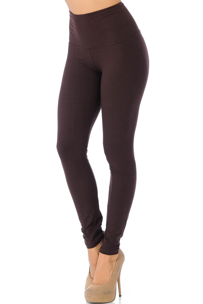 45 degree view of Brown Buttery Soft High Waisted Basic Solid Leggings - 5 Inch Band