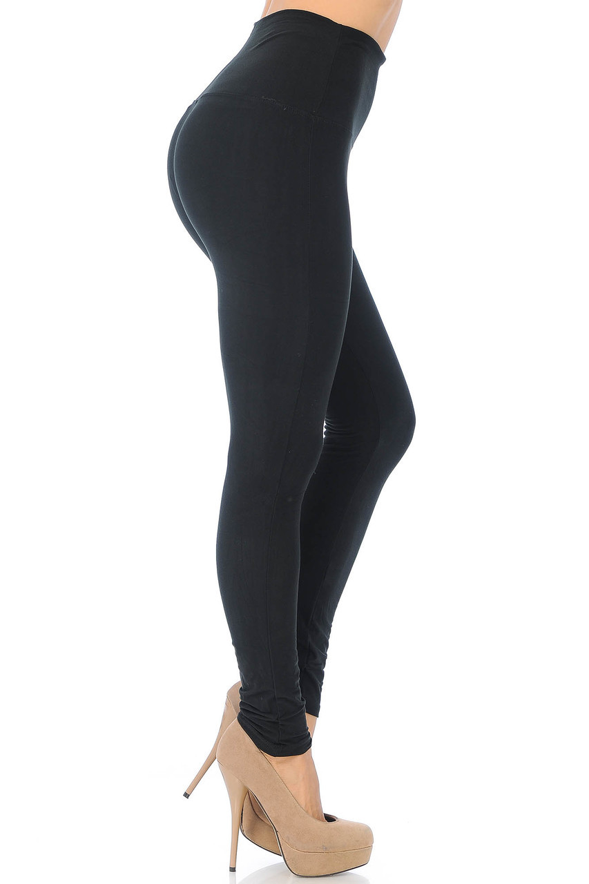 Right side of Black Buttery Soft High Waisted Basic Solid Leggings - 5 Inch Band