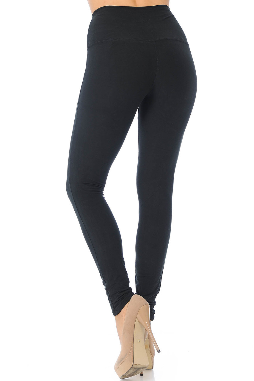 Back side image of Black Buttery Soft High Waisted Basic Solid Leggings - 5 Inch Band