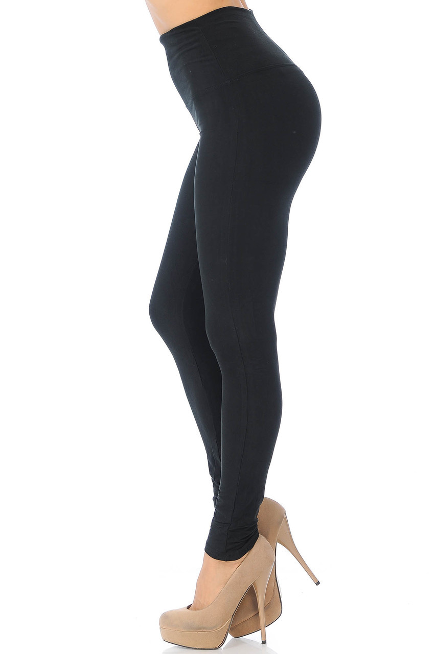 Left side image of Black Buttery Soft High Waisted Basic Solid Leggings - 5 Inch Band