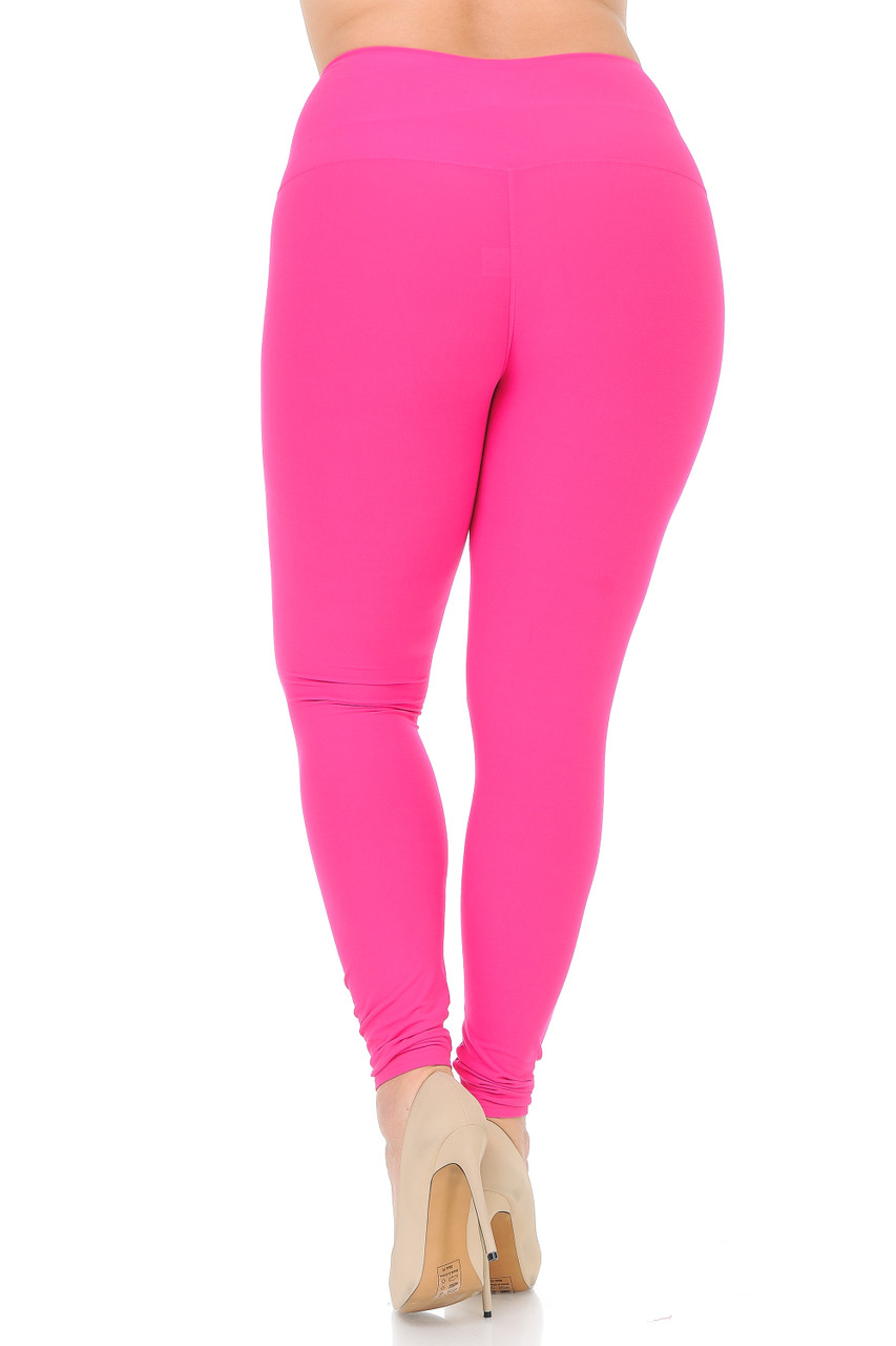 Back side image of Fuchsia Buttery Soft High Waisted Plus Size Basic Solid Leggings - 5 Inch Band