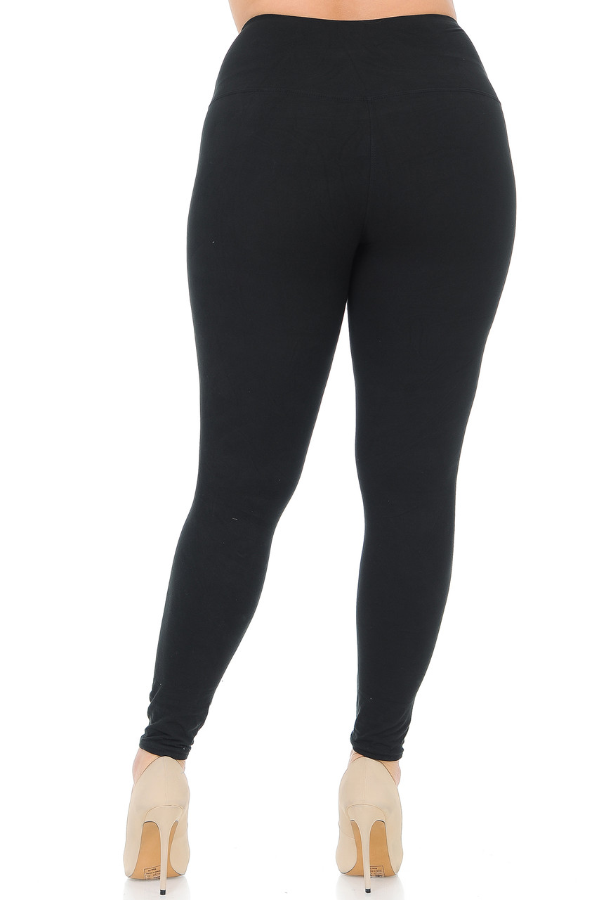 Back side image of Black Buttery Soft High Waisted Plus Size Basic Solid Leggings - 5 Inch Band