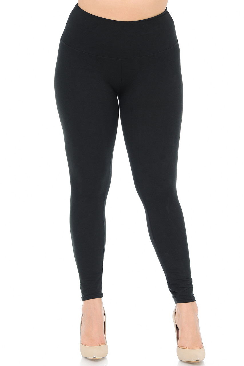 Front view image of Black Buttery Soft High Waisted Plus Size Basic Solid Leggings - 5 Inch Band