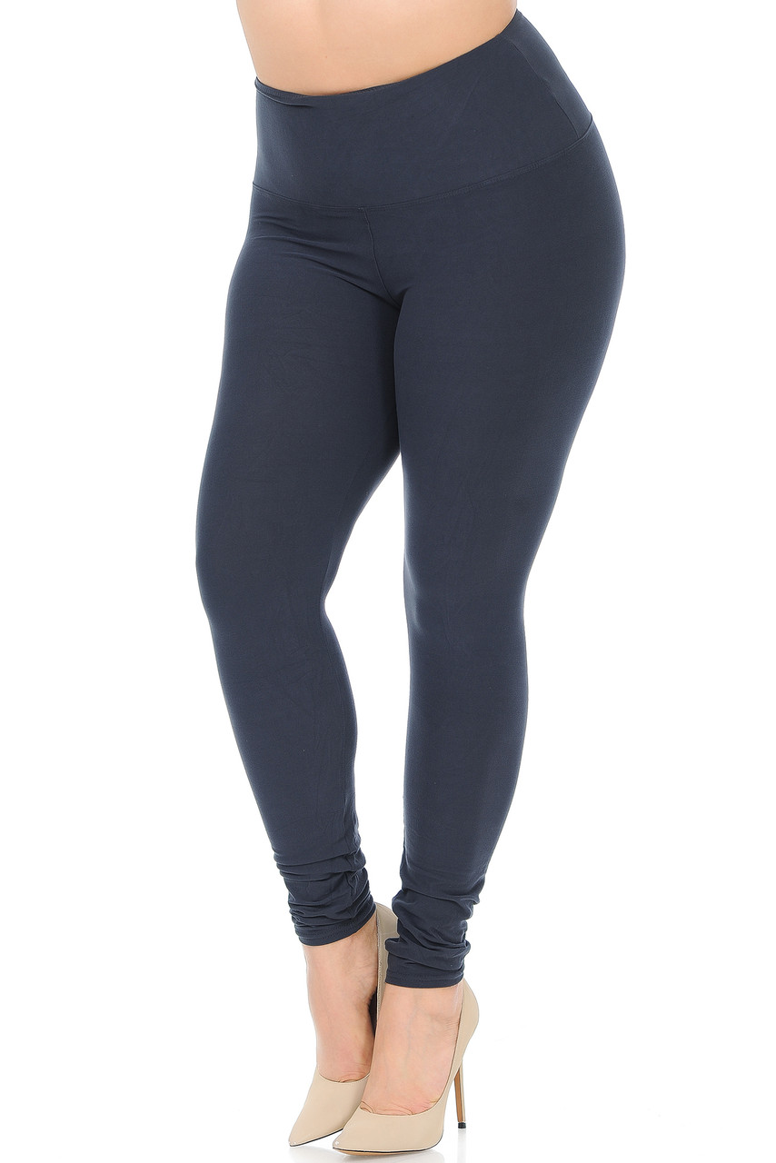 45 degree view of Charcoal Buttery Soft High Waisted Plus Size Basic Solid Leggings - 5 Inch Band