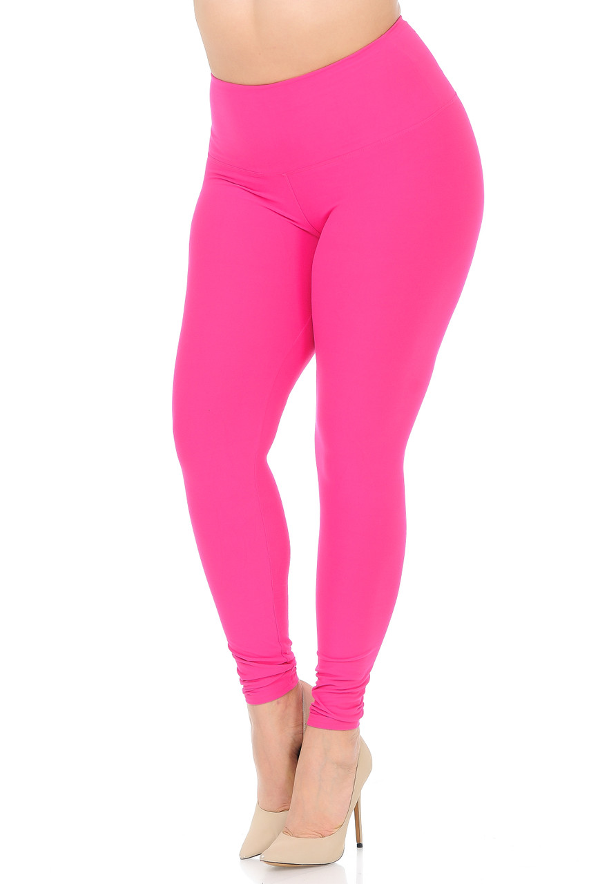 45 degree view of Fuchsia Buttery Soft High Waisted Plus Size Basic Solid Leggings - 5 Inch Band