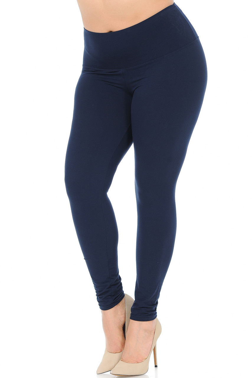 45 degree view of Navy Buttery Soft High Waisted Plus Size Basic Solid Leggings - 5 Inch Band