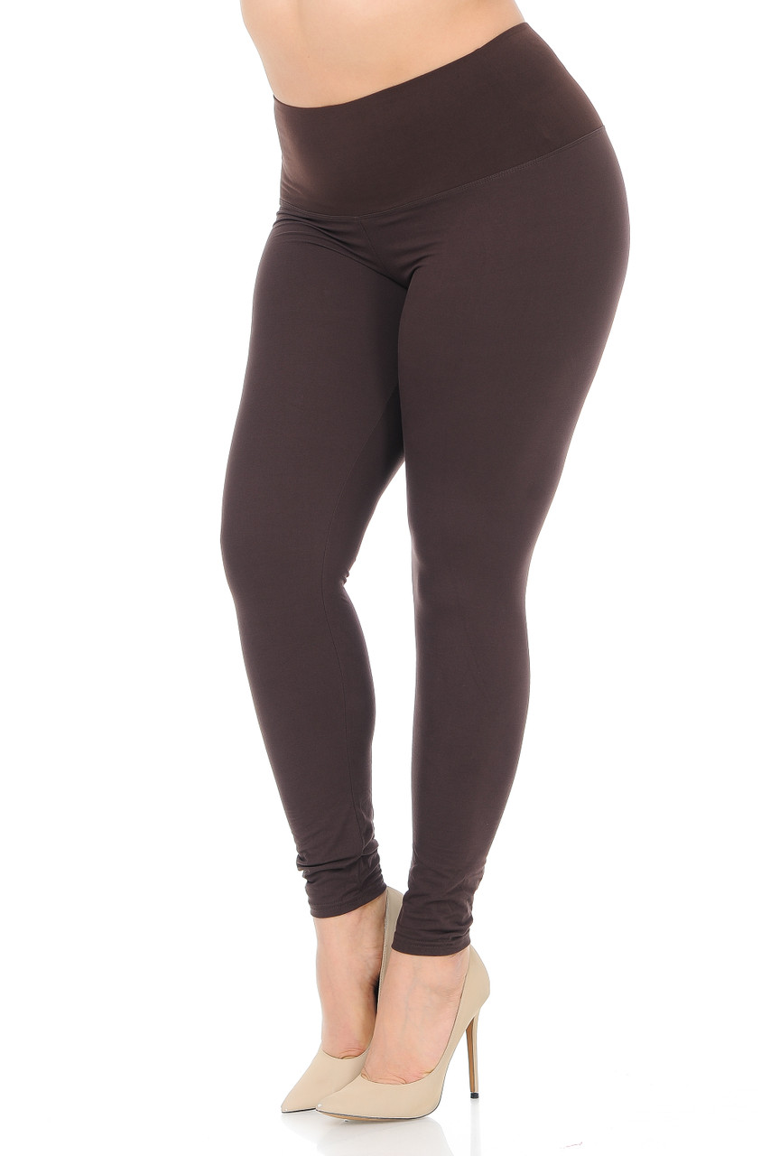 45 degree view of Brown Buttery Soft High Waisted Plus Size Basic Solid Leggings - 5 Inch Band