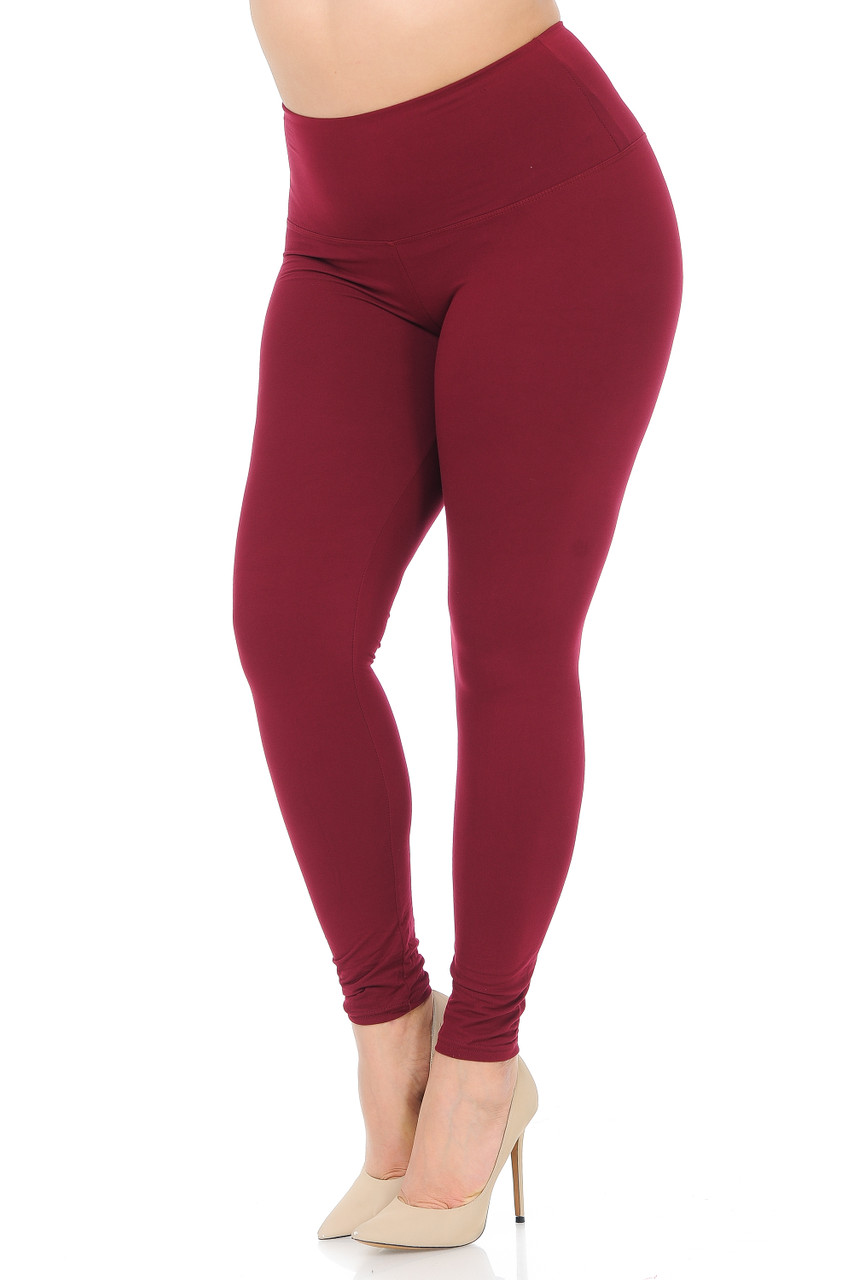 45 degree view of Burgundy Buttery Soft High Waisted Plus Size Basic Solid Leggings - 5 Inch Band