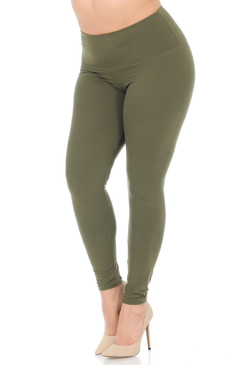 45 degree view of Olive Buttery Soft High Waisted Plus Size Basic Solid Leggings - 5 Inch Band